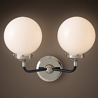 ��� Bistro Globe Clear Glass Double Sconce Nickel Milk